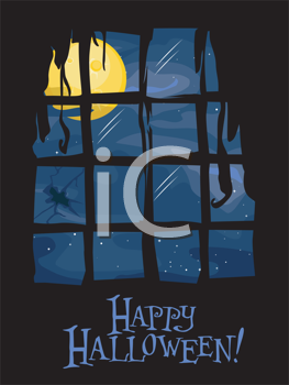 Royalty Free Clipart Image of a Full Moon From Inside on a Happy Halloween Greeting