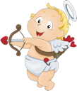 Royalty Free Clipart Image of a Cupid With a Bow and Arrow