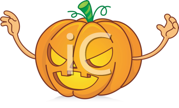 Royalty Free Clipart Image of a Scary Jack-o-Lantern
