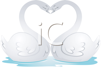 Royalty Free Clipart Image of Two Swan Forming a Heart