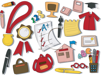 Royalty Free Clipart Image of Education Items