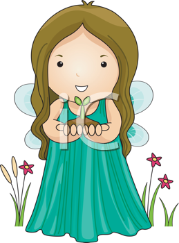 Royalty Free Clipart Image of an Earth Fairy With a Seedling