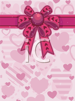 Royalty Free Clipart Image of a Pink Ribbon Wrapping a Heart Background