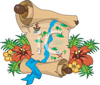 Royalty Free Clipart Image of a Treasure Map on Flowers