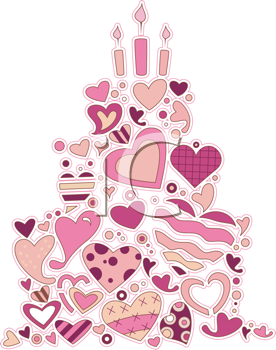 Royalty Free Clipart Image of a Heart Doodle Cake