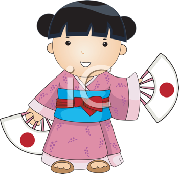 Royalty Free Clipart Image of a Japanese Woman