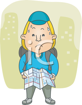 Royalty Free Clipart Image of a Man Reading a Map With Buildings in the Background