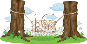 Royalty Free Clipart Image of Macrame Cradle Between Two Trees