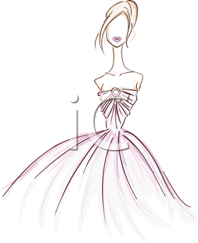 Royalty Free Clipart Image of a Girl in a Gown