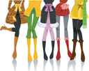Royalty Free Clipart Image of the Bottom of a Group of Girls in Winter Clothes