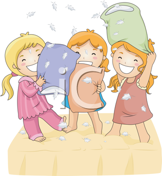 Royalty Free Clipart Image of Three Little Girls Having a Pillow Fight
