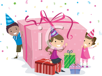 Royalty Free Clipart Image of Children With a Big Gift and Smaller Gifts