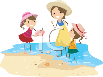 Royalty Free Clipart Image of a Family Looking for Shells