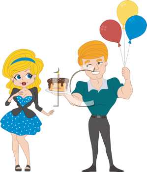 Royalty Free Clipart Image of a Man Holding Balloons and a Cake for His Girlfriend