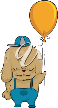 Illustration of a Dog Holding a Balloon
