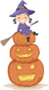 Illustration of a Kid Sitting on a Pile of Jack-o-Lanterns