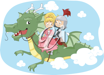 Illustration of a Knight and Princess Riding a Dragon