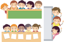 Illustration Featuring School Children Beaming Happily on Education Borders