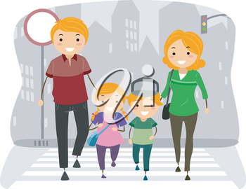 Royalty Free Clipart Image of a Family Crossing a Road