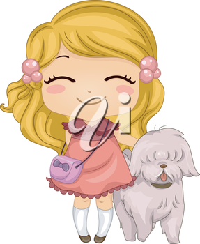Royalty Free Clipart Image of a Girl With a Dog