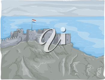 Illustration Featuring a Panoramic View of the Castle of Saladin in Egypt