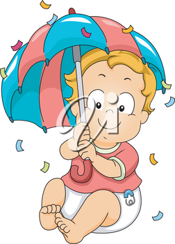 Illustration of a Baby Boy Holding an Umbrella to Protect Himself Against a Shower of Confetti