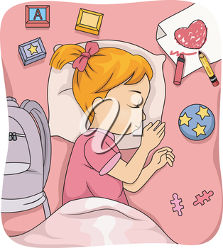 Illustration of a Sleeping Girl Surrounded by Learning Materials