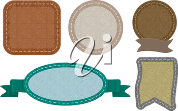 Illustration Featuring Ready to Print Labels with Leather Stitches for Design