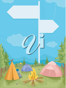 Illustration of a Camp Site With Signs Placed Around as Guides