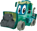 Mascot Illustration of a Garbage Compactor Carrying a Load of Garbage
