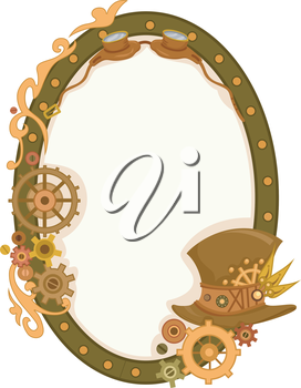 Steampunk Themed Illustration of a Circular Frame Decorated with Cogwheels and Gears