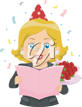 Illustration of an Elderly Woman Reading a Retirement Party Card