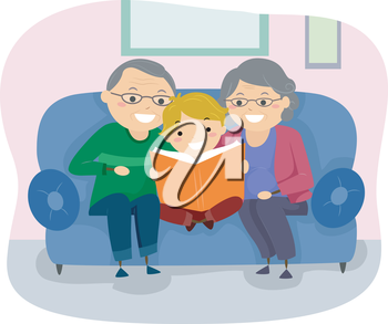 Stickman Illustration of a Pair of Grandparents Reading a Book to Their Grandson