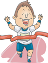 Illustration of a Runner Waving His Arms in Glee After Winning the Race