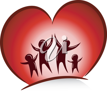 Illustration of a Happy Family with a Large Heart Behind Them