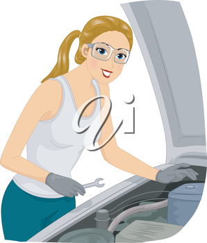 Illustration of a Female Mechanic Trying to Fix a Car