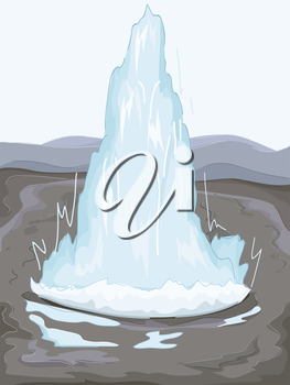 Illustration of a Geothermal Geyser Spouting Water