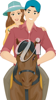Illustration of a Couple Horseback Riding on a Date