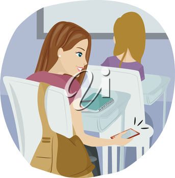 Illustration of a Teenage Girl Using Her Mobile Phone in Class