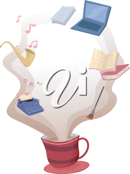 Illustration of Common Hobbies Hovering Over a Cup of Hot Coffee