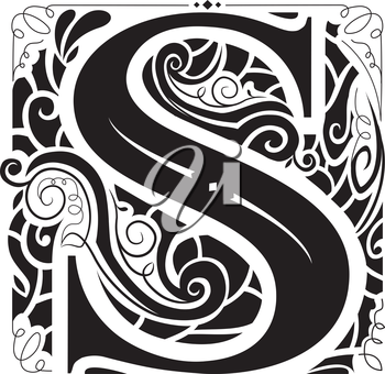 Illustration of a Vintage Monogram Featuring the Letter S