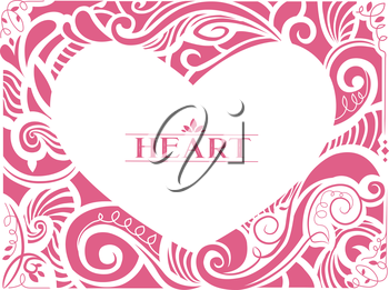 Illustration of a Vintage Heart Shaped Frame Decorated with Pink Swirls