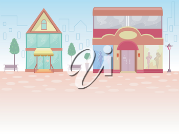 Illustration of Store Fronts with the Outline of a Cityscape for its Background