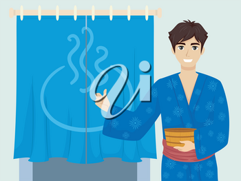 Illustration of a Teenage Guy Wearing Yukata and Presenting the Door to an Onsen Bath