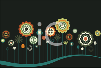 Royalty Free Clipart Image of Flowers in a Row on a Dark Background