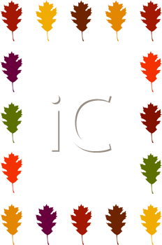 Royalty Free Clipart Image of a Multicoloured Leaf Border