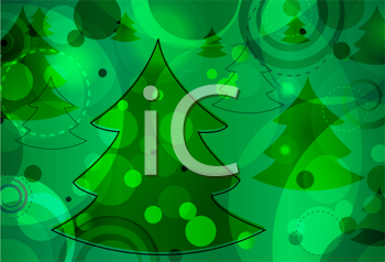 Royalty Free Clipart Image of an Evergreen Tree Pattern on a Bokeh