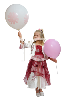 Royalty Free Photo of a Girl in a Party Dress Holding Balloons