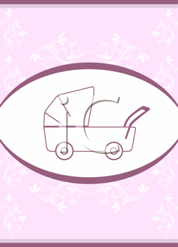 Royalty Free Clipart Image of a Template Baby Carriage Design