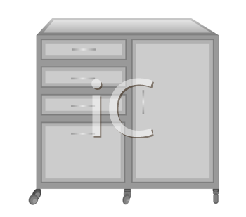 Royalty Free Clipart Image of a Medical Table on Castors